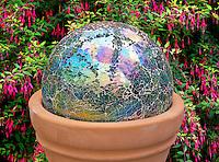 Mosaic glass gazing ball garden feature.  Oregon