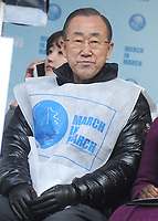 NEW YORK, NY - MARCH 08: United Nations Secretary General Ban Ki-Moon, Chirlane McCray at the 2015 International Women's Day March at Dag Hammarskjold Plaza on March 8, 2015 in New York City.<br /> <br /> <br /> People:  United Nations Secretary General Ban Ki-Moon, Chirlane McCray