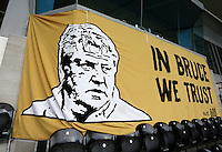 A banner of manager Steve Bruce ahead of the Capital One Cup match between Hull City and Swansea City played at the Kingston Communications Stadium, Hull