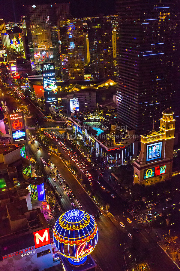 Las Vegas, Nevada at Night.  Looking south along The Strip (Las Vegas Boulevard) from the Eiffel Tower.