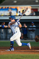 Zane Evans (17) of the Burlington Royals follows through on his swing against the Bluefield Blue Jays at Burlington Athletic Stadium on June 28, 2016 in Burlington, North Carolina.  The Royals defeated the Blue Jays 4-0.  (Brian Westerholt/Four Seam Images)