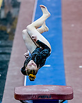 February 19, 2021: Towson University's Alison Zuhlke competes in the vault during the 2nd Annual George McGinty Alumni Meet at the SECU Arena at Towson University in Towson, Maryland. Scott Serio/Eclipse Sportswire/CSM