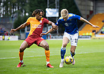 St Johnstone v Galatasaray…12.08.21  McDiarmid Park Europa League Qualifier<br />Ali McCann fends off Sacha Boey<br />Picture by Graeme Hart.<br />Copyright Perthshire Picture Agency<br />Tel: 01738 623350  Mobile: 07990 594431