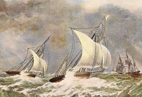 Corsair – with her rig altered to a yawl – narrowly leading Talisman in the outward leg of the August 1842 Solent-Eddystone-Solent Match Race. After a very rugged beat back to the finish, Corsair won by one minute and 30 seconds. From the painting by Nicholas Condy of Plymouth