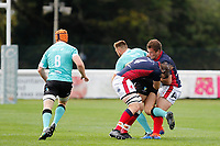Alex Toolis of London Scottish making a tackle during the Championship Cup match between London Scottish Football Club and Nottingham Rugby at Richmond Athletic Ground, Richmond, United Kingdom on 28 September 2019. Photo by Carlton Myrie / PRiME Media Images