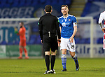 St Johnstone v Hamilton Accies…30.12.20   McDiarmid Park     SPFL<br />Referee David Munro has words with Liam Craig<br />Picture by Graeme Hart.<br />Copyright Perthshire Picture Agency<br />Tel: 01738 623350  Mobile: 07990 594431
