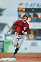 Mahoning Valley Scrappers center fielder Clark Scolamiero (27) runs the bases during a game against the Batavia Muckdogs on August 18, 2017 at Dwyer Stadium in Batavia, New York.  Mahoning Valley defeated Batavia 8-2.  (Mike Janes/Four Seam Images)