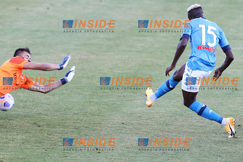 Victor Osimhen of SSC Napoli scores a goal<br /> during the friendly football match between SSC Napoli and SS Teramo Calcio 1913 at stadio Patini in Castel di Sangro, Italy, September 04, 2020. <br /> Photo Cesare Purini / Insidefoto