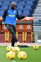 Romelu Lukaku of FC Internazionale warms up during the Serie A football match between AS Roma and FC Internazionale at Olimpico stadium in Roma (Italy), January 10th, 2021. Photo Andrea Staccioli / Insidefoto