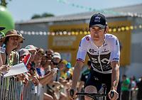 Geraint Thomas (GBR/Team Sky) pre race riding to the sign on. <br /> <br /> Stage 2: Mouilleron-Saint-Germain > La Roche-sur-Yon (183km)<br /> <br /> Le Grand Départ 2018<br /> 105th Tour de France 2018<br /> ©kramon