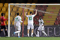 Sassuolo players celebrate after Federico Barba of Benevento Calcio ( not pictures ) made an own goal during the Serie A football match between Benevento Calcio and US Sassuolo at Ciro Vigorito stadium in Benevento (Italy), April 12th, 2021. Photo Cesare Purini / Insidefoto