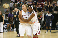 SACRAMENTO, CA - MARCH 29: Jayne Appel and Nnemkadi Ogwumike after the final shot during Stanford's 55-53 win over Xavier in the NCAA Women's Basketball Championship Elite Eight on March 29, 2010 at Arco Arena in Sacramento, California.