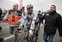 race winner Peter Sagan (SVK/Bora-Hansgrohe) is escorted towards the podium ceremony straight after the race<br /> <br /> 69th Kuurne-Brussel-Kuurne 2017 (1.HC)