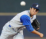 April 9, 2009: RHP Alex Caldera (29) of the Wilmington Blue Rocks, Class A affiliate of the Kansas City Royals, in a game against the Myrtle Beach Pelicans at BB&T Coastal Field in Myrtle Beach, S.C. Photo by:  Tom Priddy/Four Seam Image