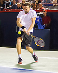 Ernests Gulbis (LAT) loses to Novak Djokovic (SRB)  5-7, 7-6, 6-1 at the Rogers Cup in Montreal,  on August 14, 2015.