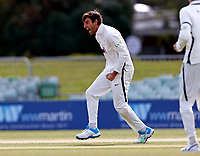 Yorkshire's Duanne Olivier celebrates after taking the wicket of Ollie Robertson during Kent CCC vs Yorkshire CCC, LV Insurance County Championship Group 3 Cricket at The Spitfire Ground on 18th April 2021