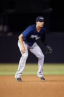 Lakeland Flying Tigers third baseman Danny Pinero (22) during the second game of a doubleheader against the Tampa Tarpons on May 31, 2018 at George M. Steinbrenner Field in Tampa, Florida.  Lakeland defeated Tampa 3-2.  (Mike Janes/Four Seam Images)