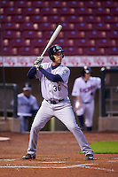 Kane County Cougars first baseman Trevor Mitsui (36) during the second game of a doubleheader against the Cedar Rapids Kernels on May 10, 2016 at Perfect Game Field in Cedar Rapids, Iowa.  Cedar Rapids defeated Kane County 3-2.  (Mike Janes/Four Seam Images)