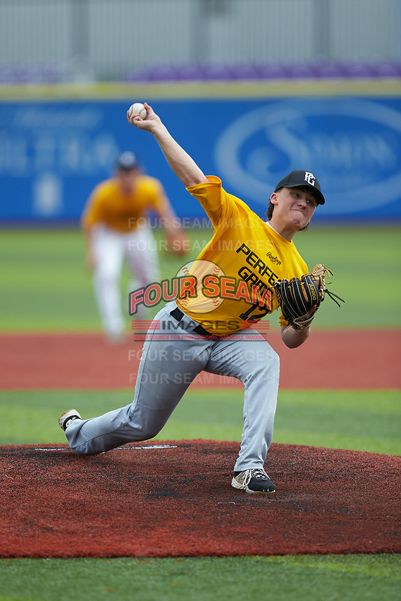 Cade Gardner (12) of A C Reynolds High School in Fletcher, NC during the Atlantic Coast Prospect Showcase hosted by Perfect Game at Truist Point on August 23, 2020 in High Point, NC. (Brian Westerholt/Four Seam Images)