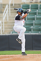 Ruben Sierra Jr. (18) of the Kannapolis Intimidators at bat against the Hagerstown Suns at CMC-Northeast Stadium on May 16, 2013 in Kannapolis, North Carolina.  The Suns defeated the Intimidators 10-7.   (Brian Westerholt/Four Seam Images)