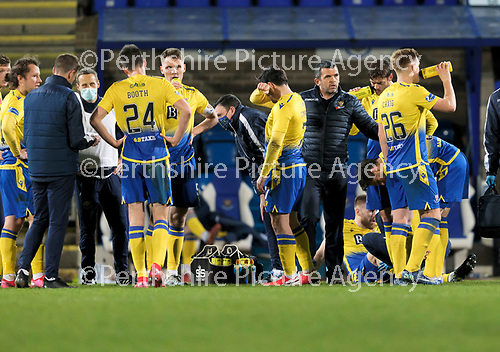 St Johnstone v Dundee United…10.11.20   McDiarmid Park      BetFred Cup<br />Saints boss Callum Davidson with his players before the penalty shoot out<br />Picture by Graeme Hart.<br />Copyright Perthshire Picture Agency<br />Tel: 01738 623350  Mobile: 07990 594431