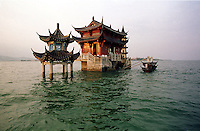 A Chinese Temple is submerged under nine-meters of water on the outscurts of a town in the western part of Lake Boyang, south of the the Yangzi River and Jiujiang city in Jiangxi Province..13-AUG-98