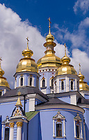 Blue gold domed church, St Michaels Cathedral in downtown Kiev, Ukraine