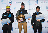 From left, third place 50k finisher Forrest Mahlen, winner Jack Novak, second place Seth Downs.
