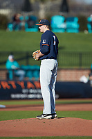 Illinois Fighting Illini starting pitcher TyWeber (7) looks to his catcher for the sign against the Coastal Carolina Chanticleers at Springs Brooks Stadium on February 22, 2020 in Conway, South Carolina. The Fighting Illini defeated the Chanticleers 5-2. (Brian Westerholt/Four Seam Images)