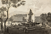 An old print shows a fountain in the square in front of Palazzo d'Orleans, Palermo, Italy. The original engraving was created by Audot, Bouchet and Aubert in the first half of 19th c.