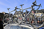 Giant-Alpecin Team bikes on the team car at sign on before the start of the 113th edition of the Paris-Roubaix 2015 cycle race held over the cobbled roads of Northern France. 12th April 2015.<br /> Photo: Eoin Clarke www.newsfile.ie