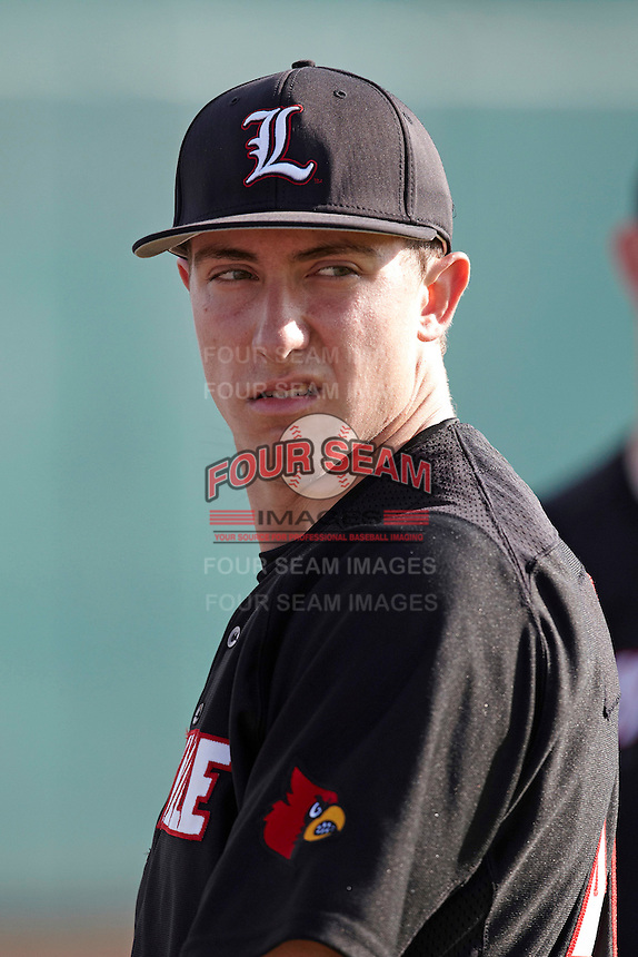 Louisville Cardinals pitcher Jared Ruxer #40 during warmups before a game against the Illinois Fighting Illini at the Big Ten/Big East Challenge at Al Lang Stadium on February 18, 2012 in St. Petersburg, Florida.  (Mike Janes/Four Seam Images)