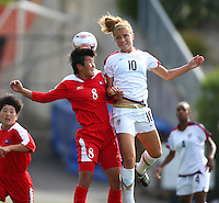 PAE Yon Hui (DPR and Kristie Mewis compete for a header. USA v Korea Republic. FIFA U-17 Women's World Cup Final. North Harbour Stadium, Auckland, Sunday 16 October 2008. Photo: Simon Watts/PHOTOSPORT