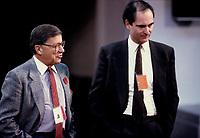 FILE PHOTO - Gerard D Levesque et Gil Remillard, probablement a Ottawa lors d'une conférence avec les provinces vers 1990<br /> <br /> PHOTO :   Agence quebec Presse