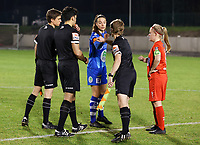 Captain Silke Vanwynsberghe (21) of AA Gent gives a fist bump to assistant referee Jordan Vandenborre before  a female soccer game between FC Femina White Star Woluwe and AA Gent Ladies on the 13 th matchday of the 2020 - 2021 season of Belgian Scooore Womens Super League , friday 5 th of February 2021  in Woluwe , Belgium . PHOTO SPORTPIX.BE | SPP | SEVIL OKTEM