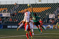 Rochester, NY - Friday June 17, 2016: Western New York Flash forward Lynn Williams (9), Portland Thorns FC goalkeeper Adrianna Franch (24),Portland Thorns FC defender Emily Menges (4) during a regular season National Women's Soccer League (NWSL) match between the Western New York Flash and the Portland Thorns FC at Rochester Rhinos Stadium.