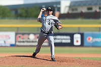 Glendale Desert Dogs relief pitcher Zach Thompson (49), of the Chicago White Sox organization, delivers a pitch during an Arizona Fall League game against the Peoria Javelinas at Peoria Sports Complex on October 22, 2018 in Peoria, Arizona. Glendale defeated Peoria 6-2. (Zachary Lucy/Four Seam Images)