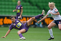 MELBOURNE, AUSTRALIA - DECEMBER 18: Samantha KERR of the Glory and Amy JACKSON of the Victory compete for the ball during the round 7 W-League match between the Melbourne Victory and the Perth Glory at AAMI Park on December 18, 2010 in Melbourne, Australia. (Photo Sydney Low / asteriskimages.com)