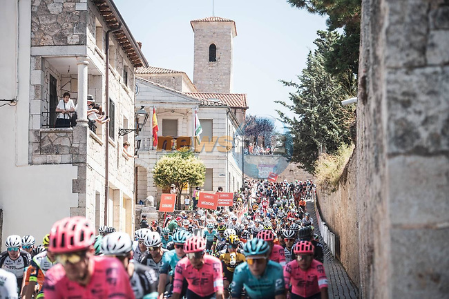 The start of Stage 2 of La Vuelta d'Espana 2021, running 166.7km from Caleruega. VIII Centenario de Santo Domingo de Guzmán to Burgos. Gamonal, Spain. 15th August 2021.    <br /> Picture: Unipublic/Charly Lopez | Cyclefile<br /> <br /> All photos usage must carry mandatory copyright credit (© Cyclefile | Unipublic/Charly Lopez)