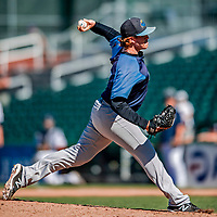18 July 2018: Trenton Thunder pitcher Caleb Frare on the mound against the New Hampshire Fisher Cats at Northeast Delta Dental Stadium in Manchester, NH. The Fisher Cats defeated the Thunder 3-2 in a 7-inning, second game of the day. Mandatory Credit: Ed Wolfstein Photo *** RAW (NEF) Image File Available ***