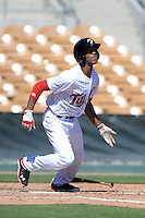 Glendale Desert Dogs outfielder Byron Buxton (15), of the Minnesota Twins organization, during an Arizona Fall League game against the Mesa Solar Sox on October 8, 2013 at Camelback Ranch Stadium in Glendale, Arizona.  The game ended in an 8-8 tie after 11 innings.  (Mike Janes/Four Seam Images)
