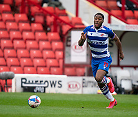 2nd April 2021, Oakwell Stadium, Barnsley, Yorkshire, England; English Football League Championship Football, Barnsley FC versus Reading; Yakou Méïte of Reading through on goal in the first half but misses the goal wide