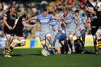 George Kruis of Saracens kicks ahead during the Aviva Premiership match between London Wasps and Saracens at Adams Park on Saturday 29th March 2014 (Photo by Rob Munro)