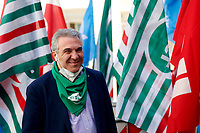 Luigi Sbarra, secretary of CISL poses for photographers during the demonstration of the trade unions in Piazza Montecitorio .<br /> Rome (Italy), May 28th 2021<br /> Photo Samantha Zucchi Insidefoto