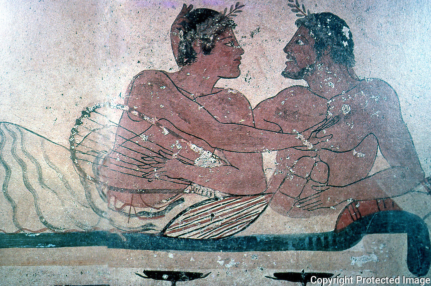 Greek Art:  Two men at Banquet, early 5th Century B.C.  Sarcophagus, Paestum.