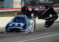 Sept. 3, 2011; Claremont, IN, USA: NHRA funny car driver Matt Hagan during qualifying for the US Nationals at Lucas Oil Raceway. Mandatory Credit: Mark J. Rebilas-