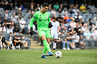 3rd January 2021; Campbelltown Stadium, Leumeah, New South Wales, Australia; A League Football, Macarthur FC versus Central Coast Mariners; Adam Federici of Macarthur FC passes the ball out to his defenders
