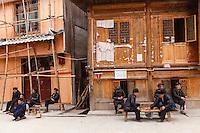 Asia,Cina,Guizhou,Xiao Huang,Dong ethnic minority group, old men play check ,China minority