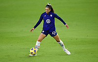 ORLANDO, FL - JANUARY 18: Sophia Smith #25 of the United States warming up during a game between Colombia and USWNT at Exploria Stadium on January 18, 2021 in Orlando, Florida.