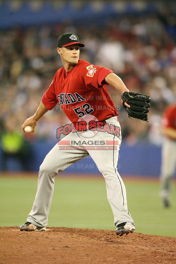 March 7, 2009:  Pitcher Christopher Leroux (52) of Canada during the first round of the World Baseball Classic at the Rogers Centre in Toronto, Ontario, Canada.  Team USA defeated Canada 6-5 in both teams opening game of the tournament.  Photo by:  Mike Janes/Four Seam Images